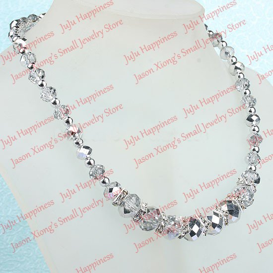 Fashion Handmade Silver Crystal Glass Faceted Beads Necklace With Magnetic Clasp one piece 19