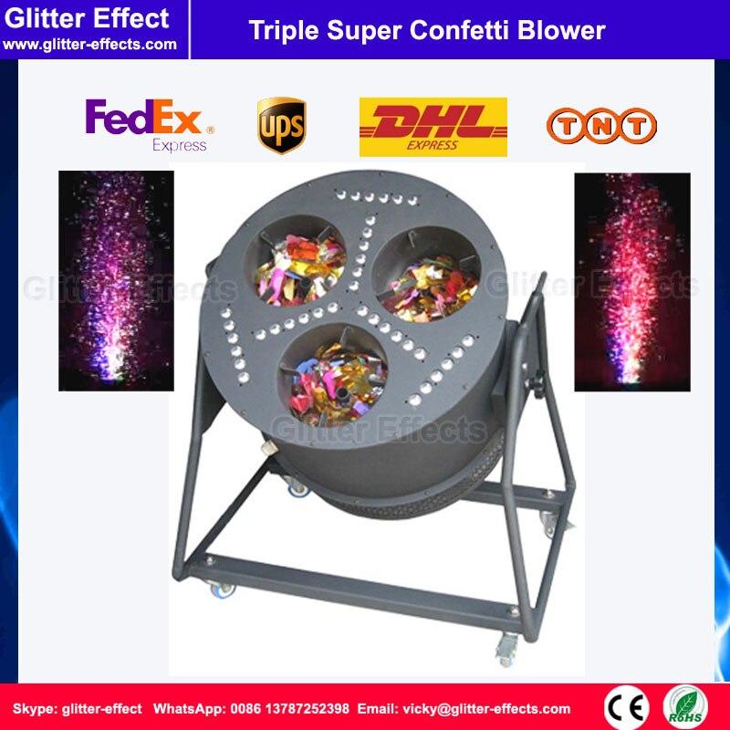 DJ дискотека этап специальный эффект свадебного торжества 3 головы цвет бумаги большой светодиодный тройной пушка конфетти машина/Shooter /вент