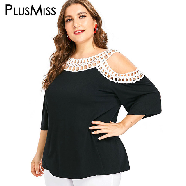 f96eee30030 PlusMiss Plus Size Cold Shoudler Lace Crochet Blouse Women XXXXL XXXL XXL  Ethnic Boho Loose Tops Hollow Out Big Size Female 5XL
