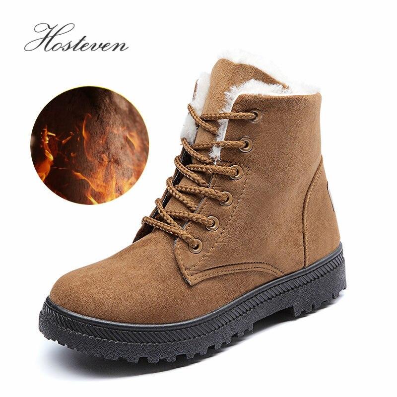 Hosteven nieve Classic Suede tacones mujeres botas de Invierno Caliente felpa plantilla caliente del tobillo encaje hasta damas estudiante femenino zapatos