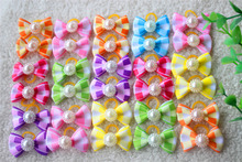 30pcs New Tartan Design Dog Hair Bow Pet Dog Bows With Pearl Cute Rubber Band Hairpin