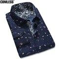 2016 Nova Camisa Dos Homens Moda Slim Fit Floral Impressão Ocasional algodão Vestido de Camisa Para Homens de Manga Comprida Masculina Camisas Florais homens