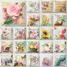 Hot sale fashion cute birds bikes sunflowers deer pillow cases beauty square double sides pattern covers size 45*45cm