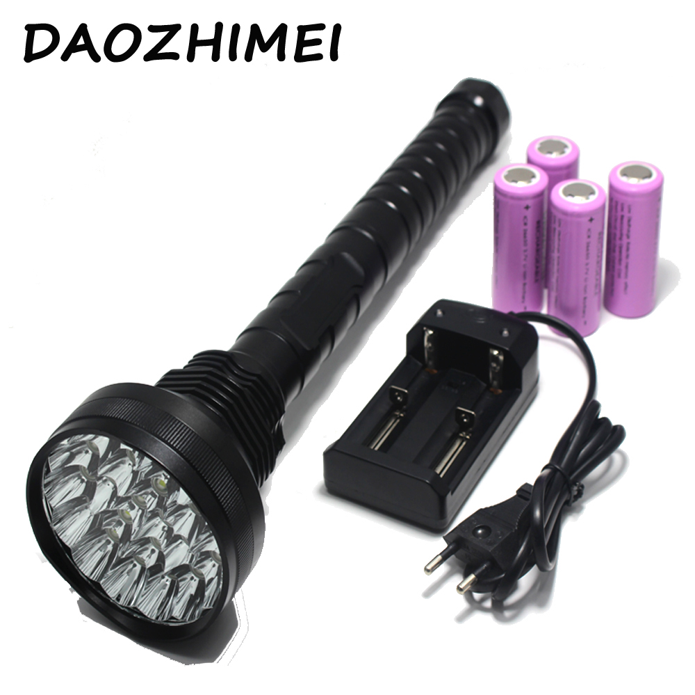 Outdoor Hunting Tactical Self-defense LED Flashlight 20000LM XM-L 15*T6 LED Light Super Bright Torch Lighting Distance 1500M defense torch emergency flashlight led light 500 lumens baseball torch self defense tactical outdoor hunting led flashlight