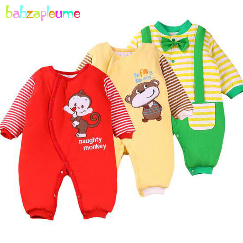 0-12Months/Autumn Winter Infant Boys Girls Rompers Cartoon Cute Thick Warm Jumpsuits Unisex Baby Clothes Newborn Clothing BC1054 0 9months autumn winter baby girls boys rompers cartoon cute thick warm hooded jumpsuits newborn clothes infant clothing bc1225