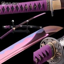 Shijian Swords Purple Japanese Samurai Katana Manganese Steel Full Tang Blade Sharp Battle Ready Genuine Katana Cutting Practice