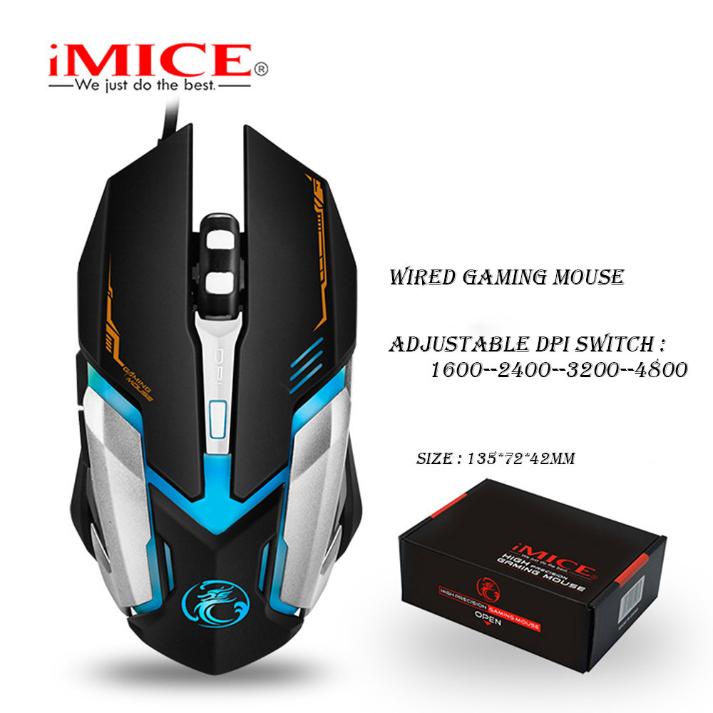 iMICE V6 Wired Gaming mouse USB Optical Mouse 6 Buttons PC Computer Mouse Gamer Mice 4800dpi For Dota 2 LOL Game-in Mice from Computer & Office