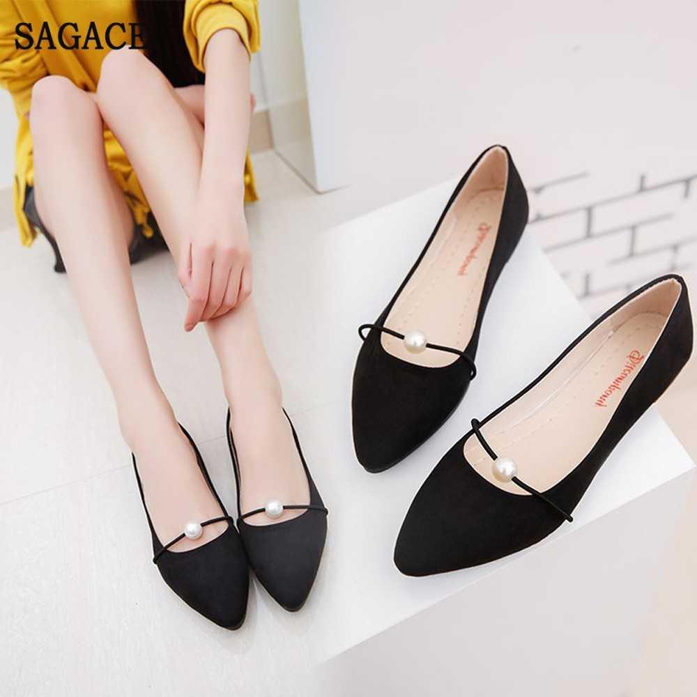 SAGACE mujer moda elegante señoras zapatos planos simples mocasines casuales zapatos perezosos femeninos cómodos tacones bajos deslizamiento en los zapatos