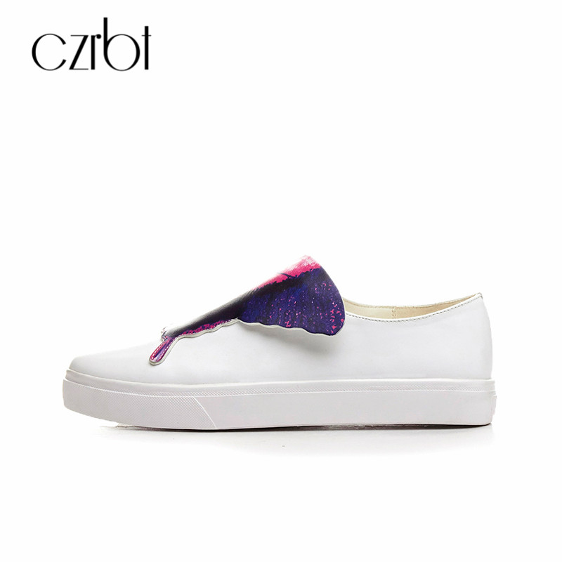 CZRBT Spring Womens Flats Genuine Leather Casual Shoes 2018 Handmade ladies Slip On Flat Loafers Round Toe Shallow Women Shoes spring shoes women flat heel round toe casual comfort flats pregnant loafers slip resistance low heels all match