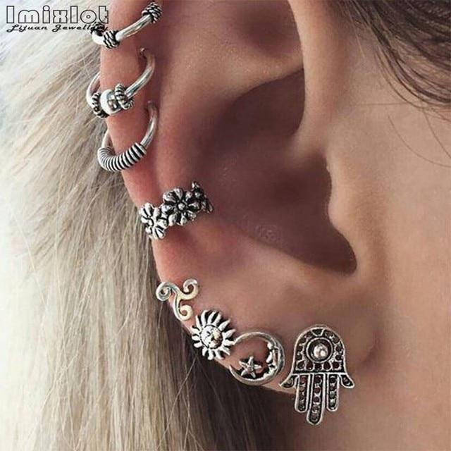 Imixlot Moon Star Clip Cuff Earring Sets Charms Helix Ear Cartilage