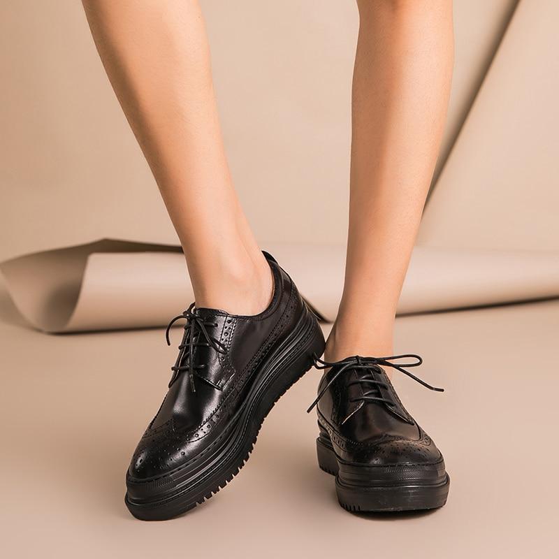 Beautoday brogue 신발 여성 플랫 플랫폼 최고 품질 정품 암소 가죽 라운드 발가락 레이스 업 레이디 신발 수제 21403-에서여성용 플랫부터 신발 의  그룹 2