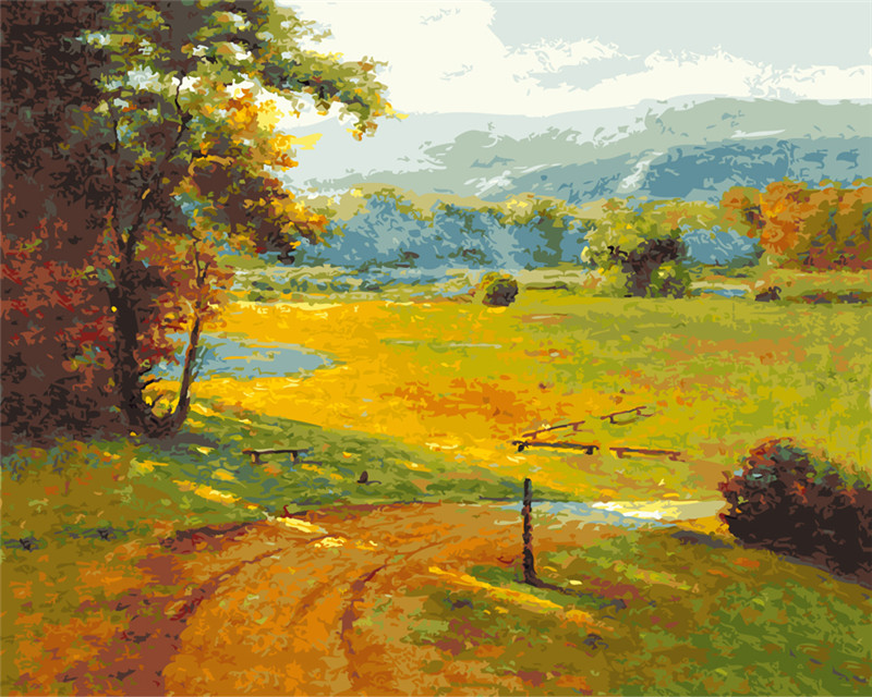 Field after rain countryside oil painting by numbers hand