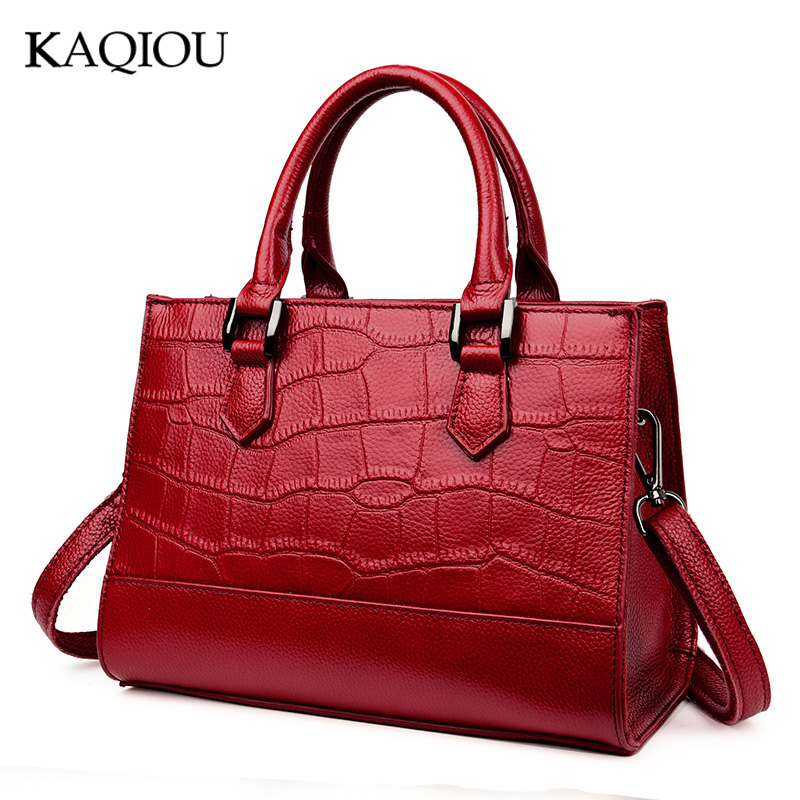 KAQIOU New  Genuine Leather Stone Pattern Women Handbag Famous Brand Design Messenger Bag Fashion Tassel Tote Bags Crossbody Bag new esufeir genuine leather stone pattern women handbag famous brand design messenger bag fashion tassel tote bags crossbody bag