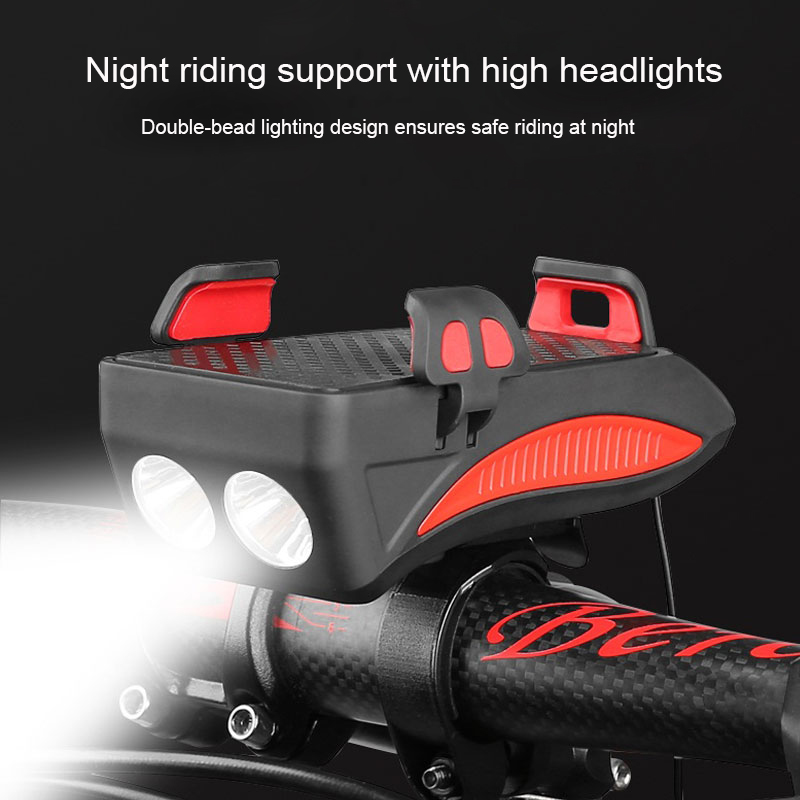 Multi-function Bike Light With Phone Holder Bicycle Lamp With Speaker Smartphone Mount Stand 2000/4000mAh Power Bank Front Torch