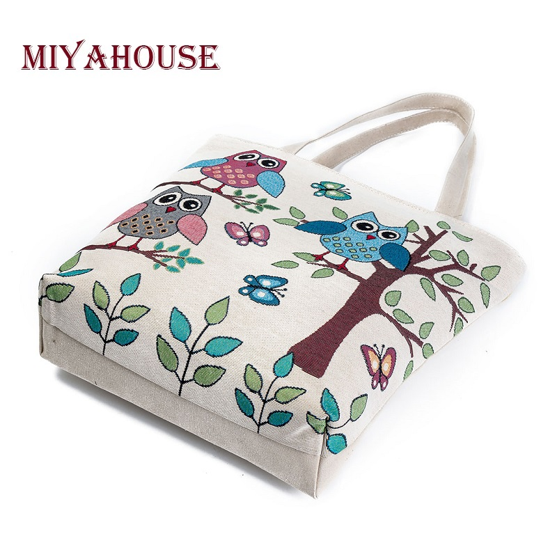 Miyahouse Summer Beach Bag Women Large Capacity Shopping Bag Handbag Female Cute Owl Print Canvas Shoulder Bag Lady Casual Totes