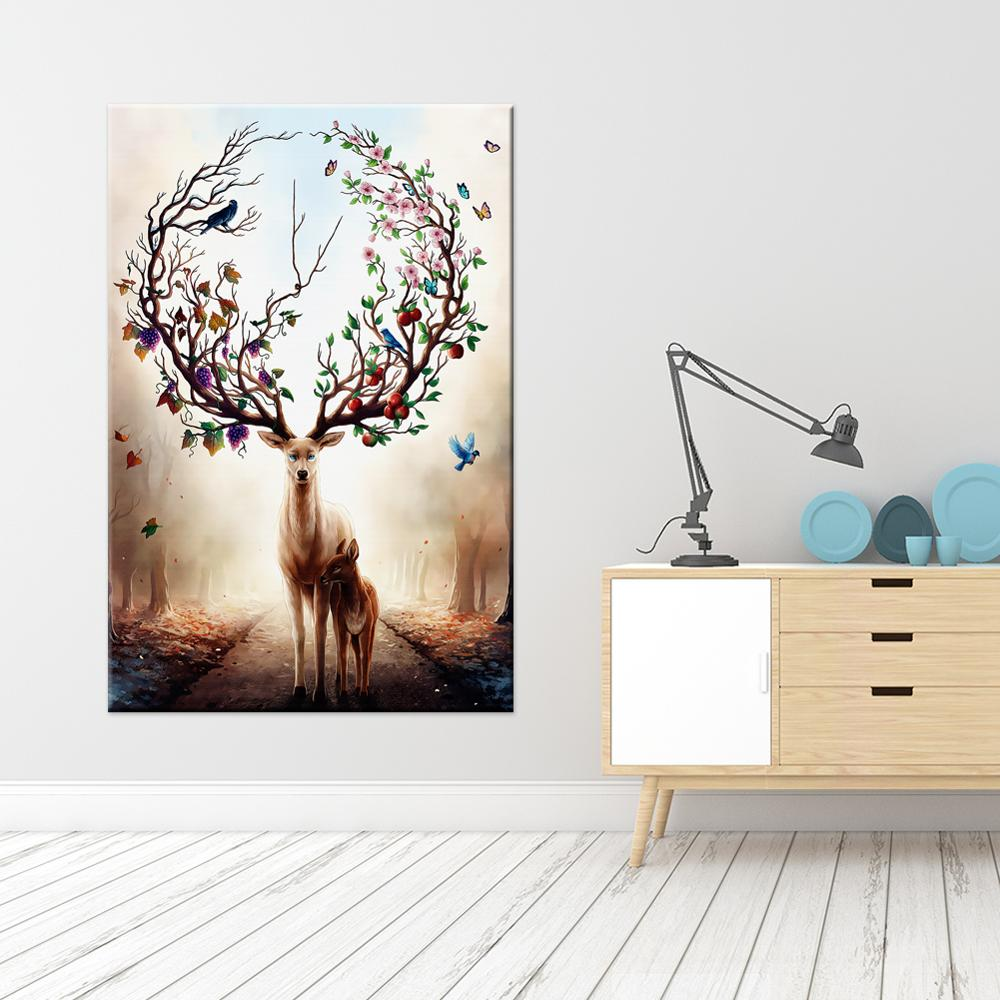 Nordic Animal Poster Print Deer Canvas Painting Stag Wall Art Picture for Home Office Restaurant Home Decoration Artwork