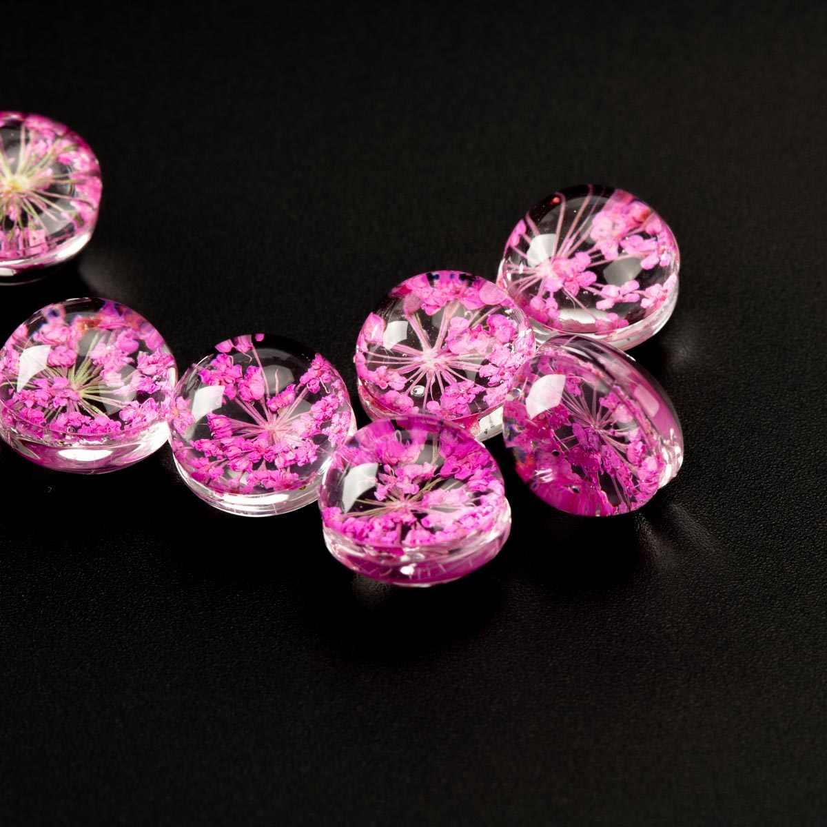 מיובש פרח ב זכוכית חרוז פרח תכשיטי חרוזים סט עבור DIY עגילי צמיד קולר שרשרת תכשיטי ביצוע חרוזים # IZ108