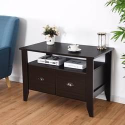 Giantex Многофункциональный вертикальный шкаф для хранения файлов журнальный столик ТВ Стенд ретро мебель W/2 ящика мебель для дома HW60298