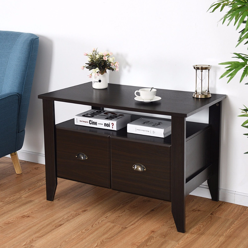 Giantex Multi-function Lateral File Cabinet Coffee Table TV Stand Retro Furni W/2 Drawer Home Furniture HW60298Giantex Multi-function Lateral File Cabinet Coffee Table TV Stand Retro Furni W/2 Drawer Home Furniture HW60298