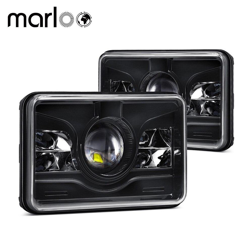 Marloo For Kenworth T800 T400 T600 Peterbilt 357 378 379 FREIGHTLINER 112 120 Western Star 4X6 INCH Rectangular LED Headlights