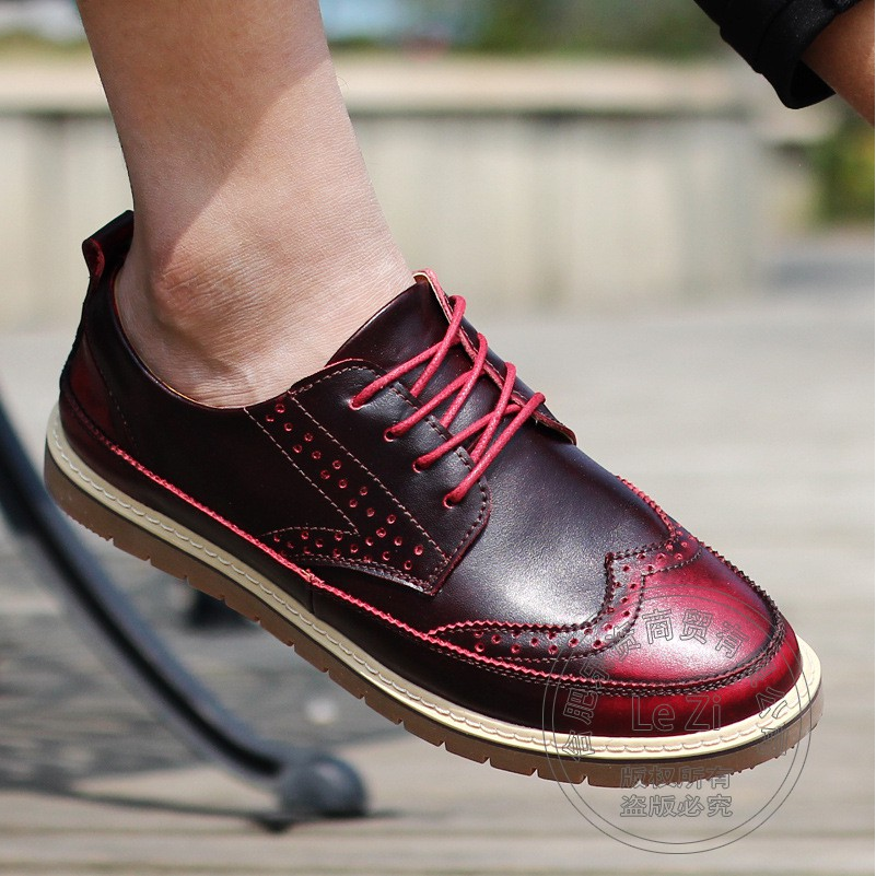 ФОТО Men Shoes Soft Leather Skate Shoes Gorgeous Solid Wine Red Punk Style Mysterious Japanese Style  Mens Shoes Casual Cow Split