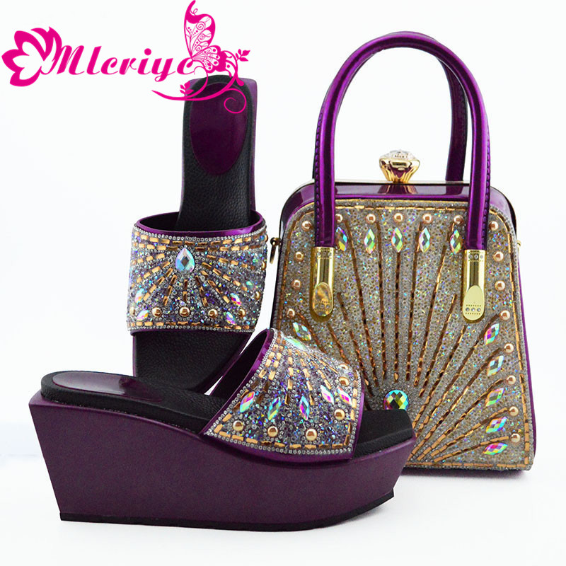 Italian Ladies Shoes and Bags To Match Set Nigerian Women Wedding Shoes and Bag Set Decorated with Rhinestone Pumps Women Shoes