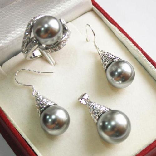 Frauen Hochzeit 1 Satz AAA 12mm Grau Shell Perle Halskette Ohrringe Ring Set C28 silber mujer moda