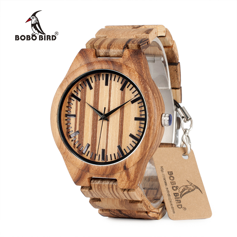BOBO BIRD Natural Zebra Wooden Watches Japan Movement Quartz Mens Wristwatches Relogio Masculino For Men Best Gifts C-G22