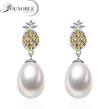 Fashion natural freshwater pearl earrings for women,pineapple 925 silver drop earrings pearl daughter gift