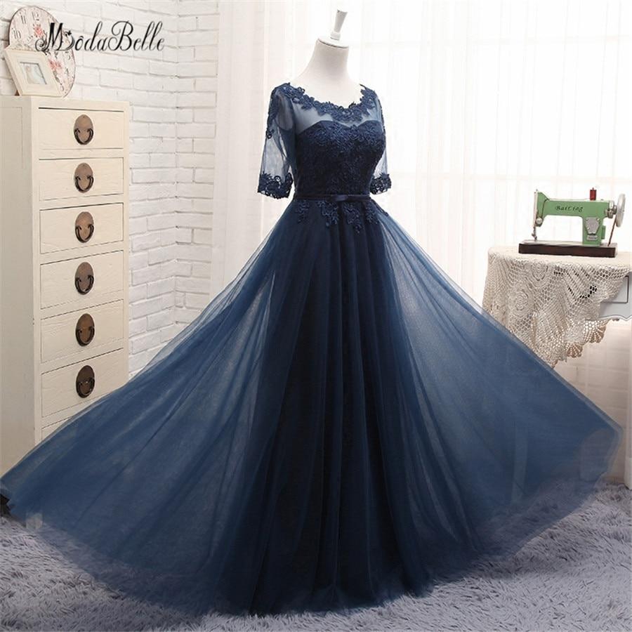 modabelle Short Sleeve Bridesmaid Dresses Navy Blue Tulle 2019 Les Robes Demoiselles D Honneur Wedding Party Dress Long Formal
