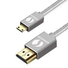 מיני HDMI לכבל HDMI תואם עם HDMI 2.0a/b, 2.0, 1.4a (Ultra HD, 4K, 3D, מלא HD, 1080p, HDR, קשת, Highspeed