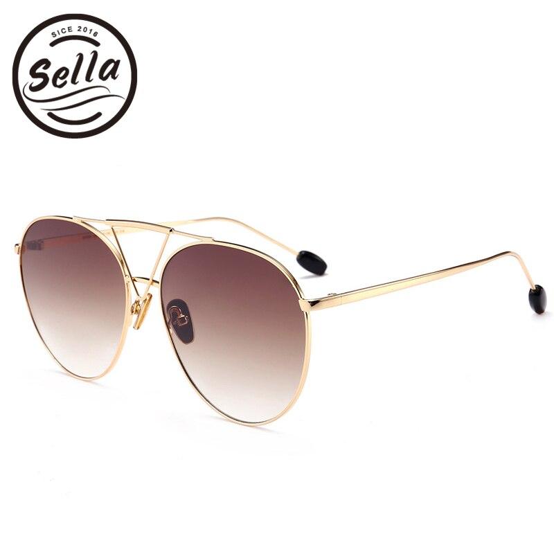 Sella New Fashion Women Men Retro Pilot Sunglasses Trending Gradient Tint Lens Oversized Round Sun Glasses Pink Yellow Eyewear