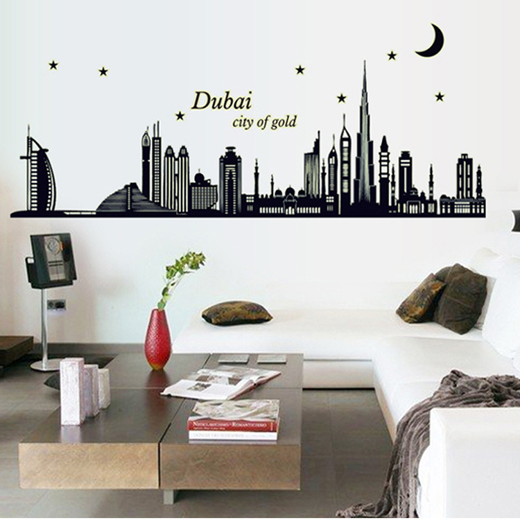 aliexpresscom buy new dubai silhouette large wall sticker home decor in dark luminous fluorescent diy posters modern removable pvc stickers from reliable - Home Decor Dubai