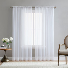 Europe Solid White Sheer Curtains for Kitchen Window Tulle Curtain For Living Room Modern Voile Curtain Window Treatments Drapes cheap MELUNMHOM Perspective Left and Right Biparting Open Ceiling Installation Yarn Dyed Flat Window European and American Style
