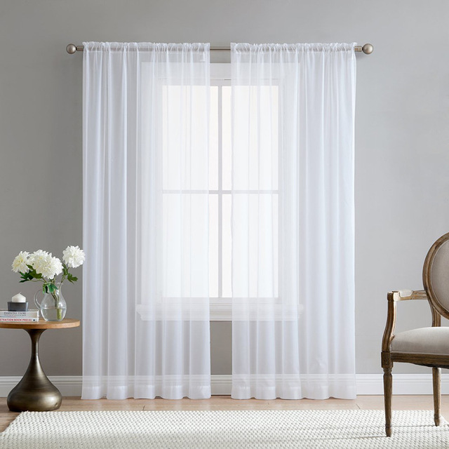 Europe Solid White Sheer Curtains for Kitchen Window Tulle Curtain ...