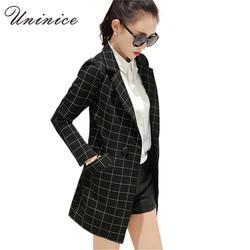 2017 women blazers jackets long plaid blazer women coat casual outerwear clothing female blazer korean ol.jpg 250x250