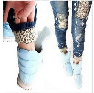 Бесплатная доставка//Женский печати леопарда носить белое ретро отделки отверстие прикладом-лифтинг карандаш джинсы закатать подол аппликация