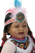 22″ black reborn babies handmade Native American Indian reborn baby doll ethnic doll collection girls gift bonecas