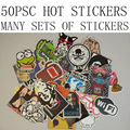50 pcs/pack Mixed funny hit stickers for kids decor on laptop sticker decal fridge skateboard doodle Free shipping