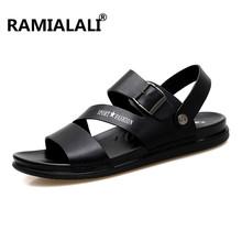 Ramialali Men Sandals Summer Leather Fashion Beach Male Shoes High Quality Casual Black Soft Men Beach Sandals Shoes