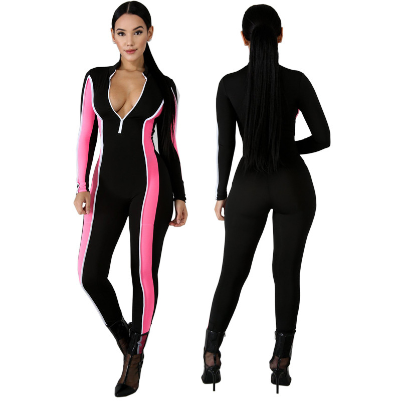 Echoine Summer Woman Playsuit Color Patchwork Fitness Overalls Long Sleeve With Zipper Long Pants Fashion Jumpsuit For Women