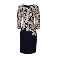 Chất lượng cao bán buôn thời trang áo cổ tròn sexy 3/4 ren tay áo bó sát váy phụ nữ chính thức hoa thêu váy bút chì