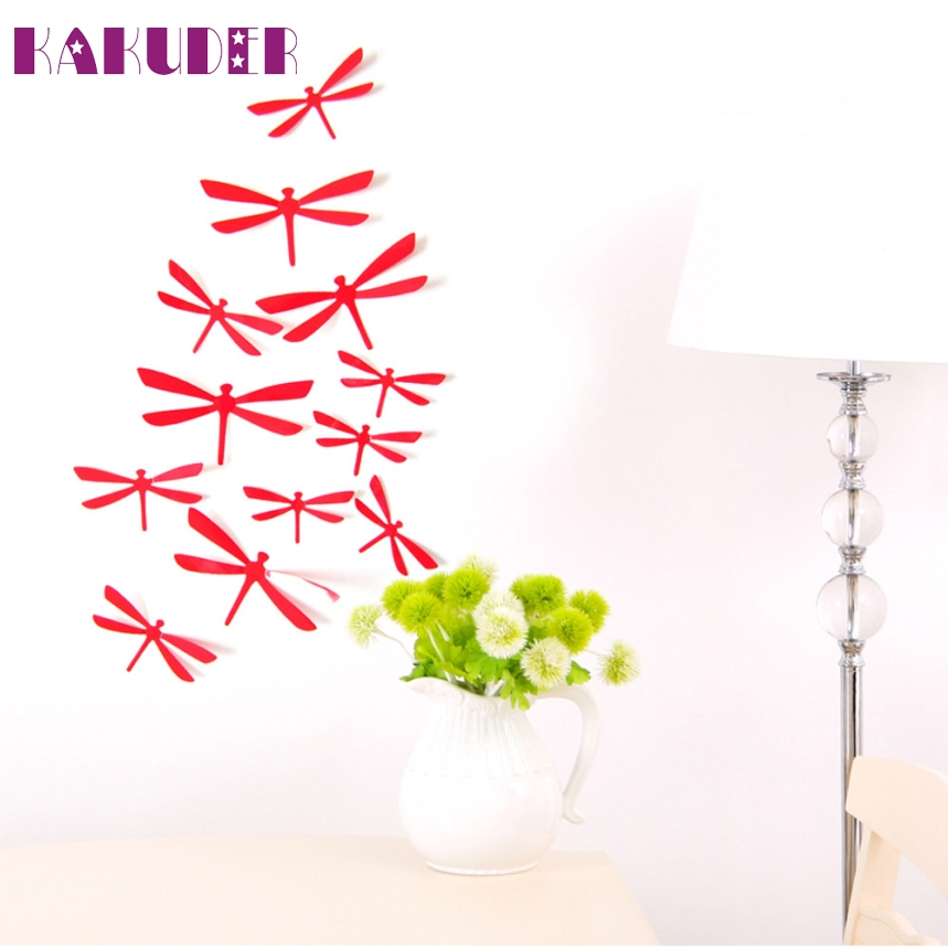 TOP Grand 2016 New Arrival 12pcs 3D DIY Decor Dragonfly Home Party Wall Stickers PVC Art Decal #K5N1