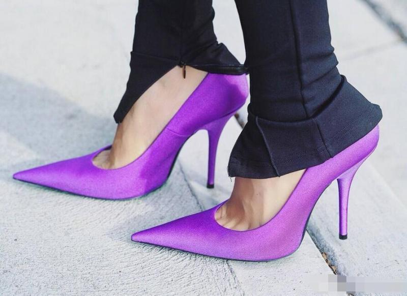 US4-11 Womens Candy Color High Heels Super Long Pointy Toe Pumps Shoes Stilettos Shoes 6Colors Black Green Pink Purple Blue Red
