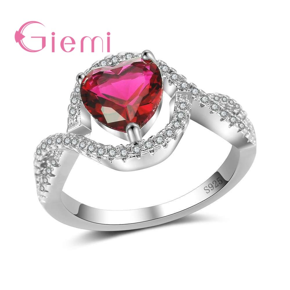 GIEMI Top Quality 925 Sterling Silver Sweet Heart Rings with Cross Hollow Band Shiny Colorful Crystal CZ Women Finger Rings