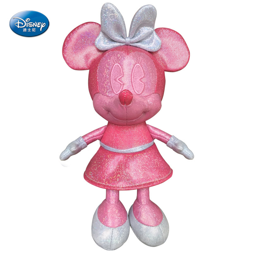 Disney Minnie Plush Toy Pink Plush Doll Beautiful Fashion Fill Girl Gift Animal Plush Toy Anime Cartoon Character Car Pendant