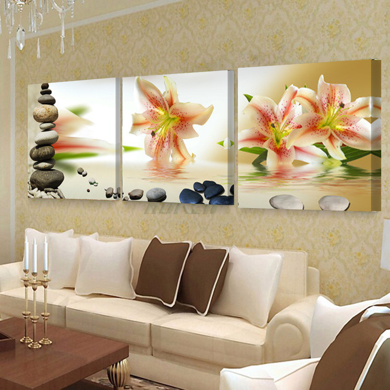 No frame home decor canvas paintings wall art canvas flower wall pictures for living room - Wall paintings for living room ...