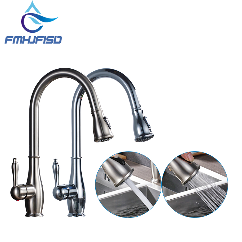 Kitchen Faucet Chrome Brass Brushed Nickel High Arch Kitchen Sink Faucet Pull Out Mixer Tap xoxo kitchen faucet brass brushed nickel high arch kitchen sink faucet pull out rotation spray mixer tap torneira cozinha 83014