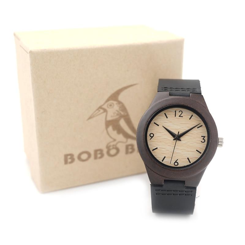 BOBO BIRD 204 Ladies Luxury Brand Womens Ebony Wooden Bamboo Wrist Watch Dress Style Female Ladies