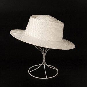 Image 5 - 2019 nova unissex branco aba larga praia chapéus das senhoras dos homens fedora derby igreja vestido chapéu fino trança sol boné verão palha chapéu base